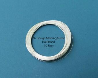 Silver Wire - 10 Feet - 26 Gauge - Sterling Silver Wire - Round - Half Hard