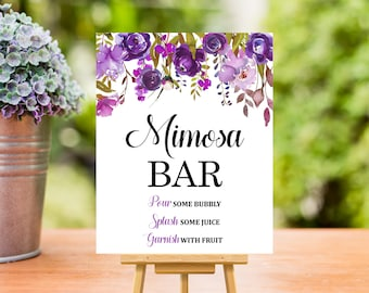 Purple Mimosa Bar Sign, Floral Mimosa Bar Sign Printable, Wedding Bridal Shower Baby Shower Decorations Table Sign, Instant Download B71 C68