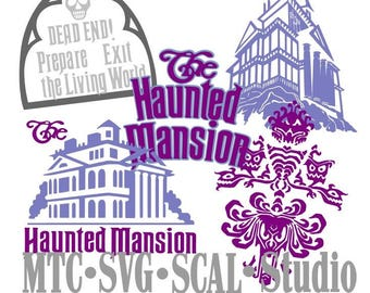 SVG Cut File Haunted Mansion Icons Bundle of 4 SCAL MTC Cricut Silhouette Cutting File