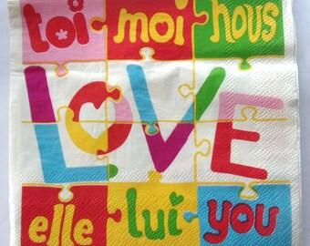 20 paper napkins you LOVE me-REF.  3460
