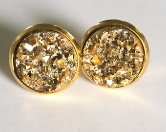 Gold Druzy Stud Earrings/Faux Gold Druzy Earrings