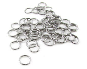 50pcs, 8mm Stainless Steel Jump Rings, 18ga, Stainless Steel Jumprings Open Round Jump Rings Connectors, Stainless Jump Rings, Chainmaille