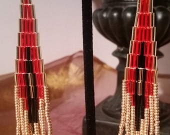 Red Black and Gold Bugle Beaded Sweeper Earrings