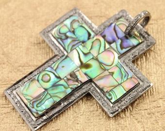 Pave Diamond Pendant, Pave Abalone Cross Pendant, Diamond Abalone Cross Charm, Pave Cross, Pave Connector, Oxidized Silver.(DCH/PDT/702)