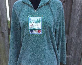 Vintage Christmas Long Sleeve Tacky Top Green Flecked Ugly Pullover Size Large / 90s Sweater