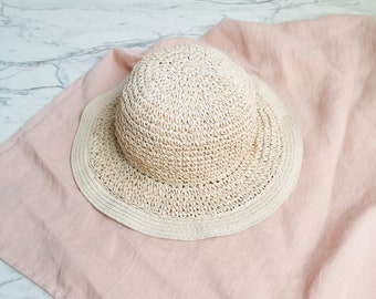 Woven paper straw hat | Floppy woven sun hat | Natural paper straw hat