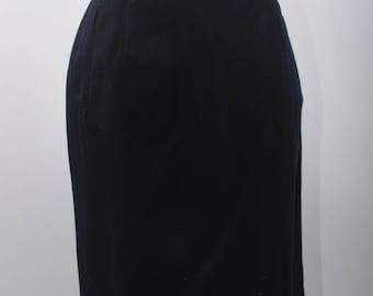 Navy Blue Pencil Skirt, Rafaella, Petites, Worsted Wool, Black, Pencil, Skirt, Vintage, Midi, Formal, Fitted, High, Waist, Office ~ 161212
