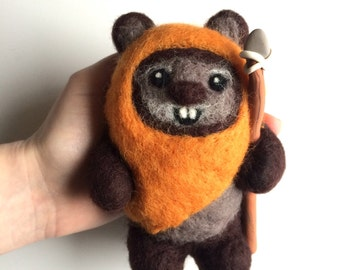 Ewok Star Wars inspired Handmade Needle Felted fibre art large made to order