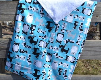 """Security Blanket - Baby Lovey - 20"""" x 38"""" Flannel and Super Plush Fabric - Blankie"""