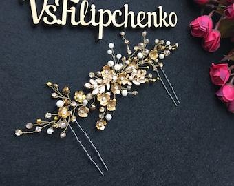 Set of 2 Gold Pearl Hair Pin Pearl Hair Pins Beaded Hair pins Bridal hair pin Gold hair pin 1
