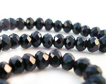 PSM07 - beads gemstone crystal glass Austrian Swarovski Black Black Glass Austrian Crystal Faceted Beads 4x3mm faceted Rondelles