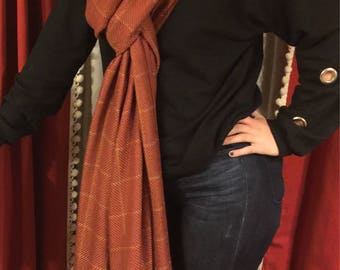 Scarf, extra long wool polyester blend with long fringe, rust plaid scarf, chunky long scarf
