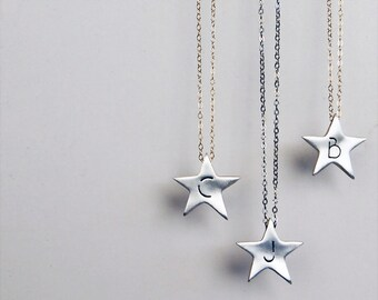Shining Star Initial Necklace- Handcrafted Sterling Silver Custom With One Initial
