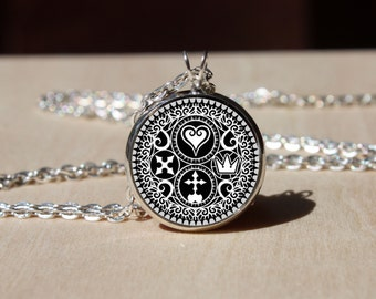 Handmade Kingdom Hearts Ultimania Trinity Emblem Necklace, pendant gift for Her Him, nekel free jewelry