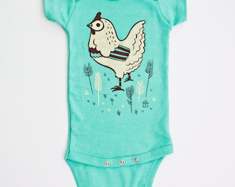 CHICKEN baby clothes unisex organic baby clothing, chicken lover gift, baby gift ideas, vegan baby clothes, baby chicken etsy baby esty