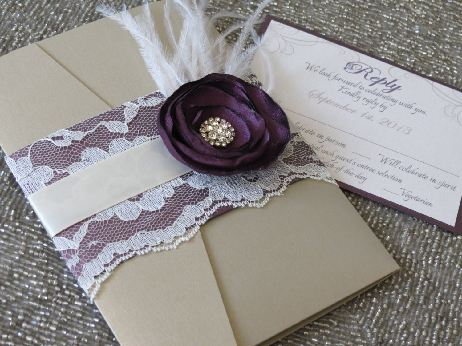 VINTAGE GLAMOUR: Purple and Gold Lace Pocketfold Wedding