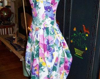 SALE, 80s, Floral Dress, Romantic, Garden party, sleeveless, size XS / S