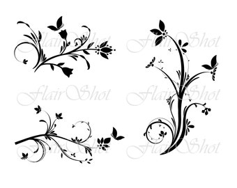 INSTANT DOWNLOAD -  Decorative digital flourishes - vector cliparts
