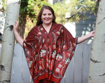 Red Floral Burnout Velvet Shawl Top