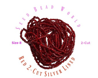 15% Off Red Seed Beads . Size 8/0 2 cuts  2-Cut Silver Lined Seed Beads . One Hank Strung Seed Beads . Seed Bead World