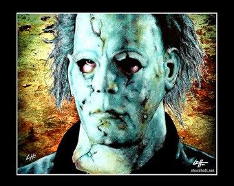 "Print 11x14"" - Michael Myers - Halloween Dark Art Horror Rob Zombie Serial Killer Monster Mask Leatherface Freddy Krueger Boogeyman Pop Art"