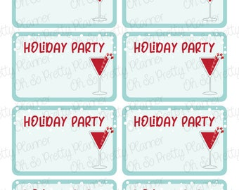 Holiday Party Half Box Planner Stickers featuring Winter Cocktail