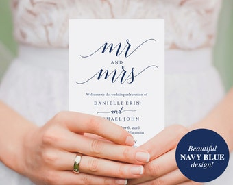 Wedding Program Template, Wedding Program Printable, Navy Blue Wedding Decorations, Wedding Template, PDF Instant Download #BPB320_3