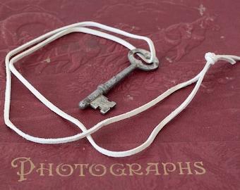 Vintage Skeleton Key on Light Gray Leather Cord