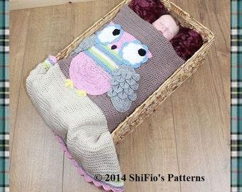 CROCHET PATTERN For Hootie Tootie Baby Afghan Crochet Pattern owl Blanket with Crocodile st U.K., U.S.A, Francais PDF 301  Digital Download