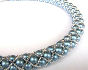 Tubular Netting Necklace / Beaded Necklace in Light blue / Seed Bead Necklace / Beadwork / Beadweaving necklace / Beadwoven necklace