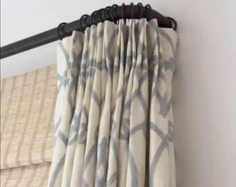 French Return Curtain Rod CUSTOM CUT Round iron curtain rod french curved return rod black Curtain Rod hardware iron rod curtains curved end