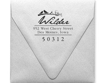 Address Stamp, Personalized Address Stamp, Custom Return Address Stamp, Bird Stamp, Garden Chic, Handwritten Stamp, Wood Mounted Stampers