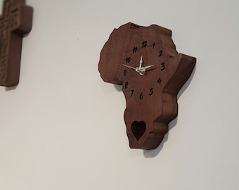 Walnut Africa clock