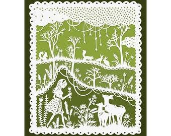 Green Meadows - 8x10 Print - Original Papercut Illustration - Girl and Deer