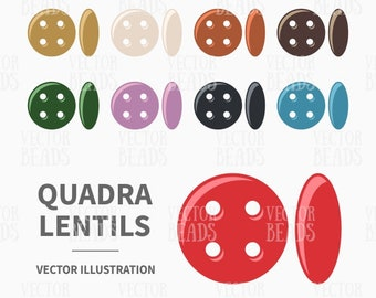 Vector Clipart Set of QuadraLentil Beads - Instant Download