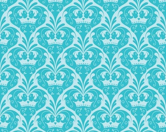 SPRING SALE - Dream and a Wish - 1 yard - C4815-Damask in Blue - Sandra Workman for Riley Blake Designs