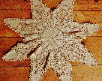 Star Shaped Doily with Flowers,  Vintage