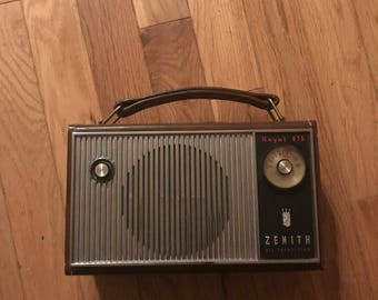 Transistor Radio 1950s Zenith Brown Leather Snap on Case Works lcww