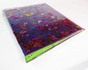 3 Ring Binder Purple Binder Cover Office Supply Glitter Notebook