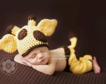Giraffe hat and pants set, baby giraffe hat, animal hat, giraffe