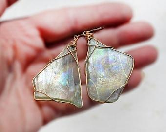Iridescent Green Roman Glass Earrings in Gold Filled Wire Roman Glass Jewelry Handmade Big Statement Earrings Israeli Earrings Free Shipping