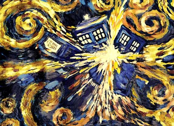 Doctor Who Van Gogh Tardis Art 8x10 Fabric Block Great for