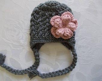 Baby earflap hat Baby girl hat Winter baby hat Newborn girl hat Crochet baby hat Charcoal baby hat Girl winter outfit Newborn girl outfit
