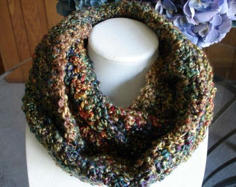 Multicolor(A) Cowl Scarf, Infinity Scarf, Crocheted Scarf, Winter Scarf