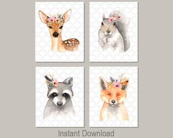 ANIMAL Nursery Prints, Woodland Nursery Art, Watercolor Nursery Art, Floral Nursery Decor, Girl Nursery Decor, Woodland Nursery Printables 4