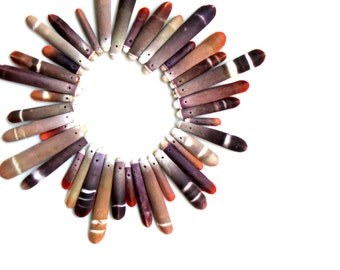 Sea Urchin sticks loose beads. 30 for 10 sea urchin  pendants charms crafting supplies seashell purple tan coral beads