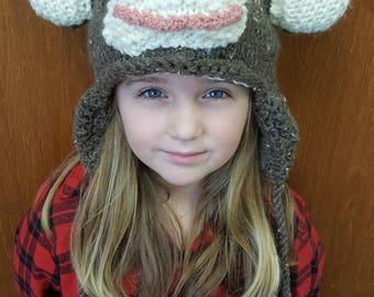 Hand gebreide Monkey Hat - gemaakt in Lancaster, PA - volledig gevoerd met oorkleppen & kwastjes - Kids dierlijke hoeden en mutsen