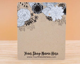 Customize Jewelry Display Cards - Black and White Flower Floral Arrangement - Earring Necklace Bows - necklace Cards -Packaging    DS0149