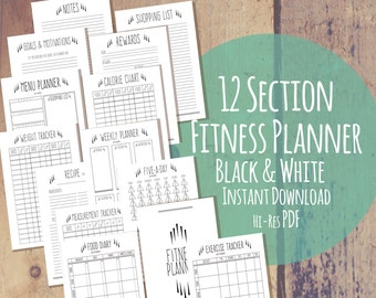 Printable Fitness Planner - Quirky Black White - 12 Part - Diet Exercise & Weight Loss Tracker Health Fitness Journal - Instant Download PDF