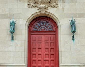 Door Photograph Architecture Print or Canvas Art Red Doorway Photo Scarlet Door Beige Ornate Architectural Wall Decor - Carillon Door & Red door photo | Etsy